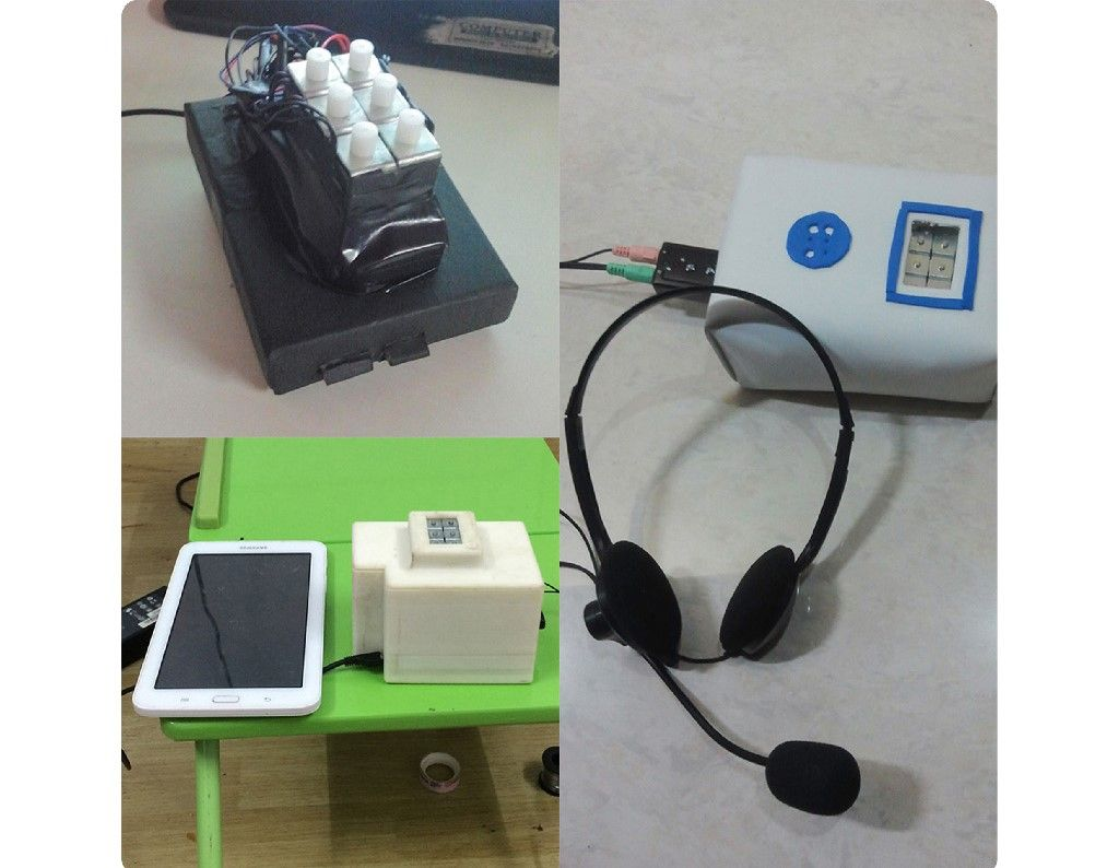 The top left of the image displays a rudimentary Braille dicta-teacher, with six buttons aligned to resemble a standard Braille cell. The right side of the image displays the finished version of the device, placed in a blue and white casing with an opening for the Braille cell. A pair of on-ear headphones are also connected to the device. The bottom-left image shows another version of the device, with a Samsung table on its right, on a green table  The
