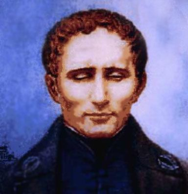 Common Portrait of Louis Braille. He is wearing a dark blue jacket and shirt, and has curly brown hair